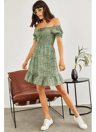 Sortee Kadın Gipeli Ip Askılı Çiçek Desenli Elbise Yeşil